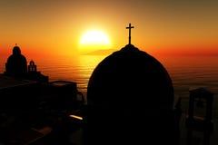 02 3d Греция представляют заход солнца восхода солнца Стоковые Фотографии RF
