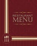 餐馆菜单设计在减速火箭的样式02的盖子模板 免版税库存图片