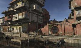 02 azjata jetty miasteczko ilustracji