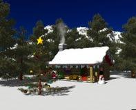 02 cabin day snowy Στοκ Εικόνες