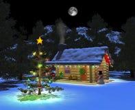 02 cabin night snowy Στοκ φωτογραφίες με δικαίωμα ελεύθερης χρήσης