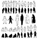 02 flickor line lottsilhouetteskvinnor royaltyfri illustrationer