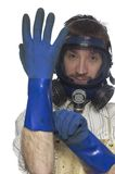 02 gloves putting Στοκ εικόνες με δικαίωμα ελεύθερης χρήσης
