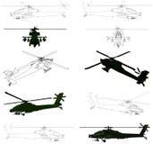 02 helikopterów wojskowy vector Obraz Royalty Free