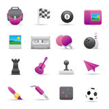 02 Purple Entertainment Icons. A group of coloured entertainment icons set Royalty Free Stock Photos