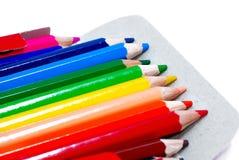 02 séries multicolores de dessin de crayon Images libres de droits