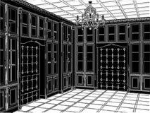 03古色古香的书橱空间向量 库存照片