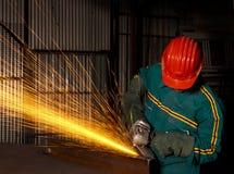 03台研磨机重工业体力工人 库存图片