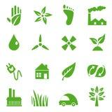 03 идут зеленые установленные иконы Стоковая Фотография RF