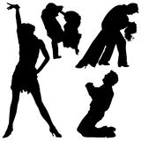 03 силуэта танцульки Стоковые Изображения RF