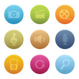 03 Circle Multimedia Icons Stock Image