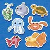 03 djura gulliga havsetiketter Arkivbild