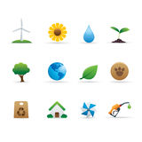 03 Ecology Icons Set. Professional  set for your website, application, or presentation. The graphics can easily be edited colored individually and be scaled to Stock Photography