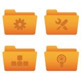 03 icone arancioni del Internet dei dispositivi di piegatura Immagine Stock Libera da Diritti