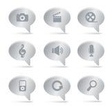 03 icone d'argento di multimedia delle bolle Immagini Stock Libere da Diritti
