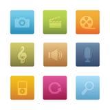 03 icone quadrate di multimedia Fotografie Stock
