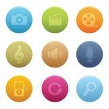 03 iconos de los multimedia del círculo Imagen de archivo