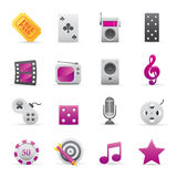 03 Purple Entertainment Icons. A group of coloured entertainment icons set royalty free illustration