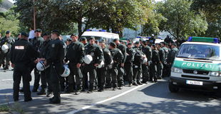 03 Sept. 11 Neo-Nazi Manifestatie in Dortmund Duitsland Royalty-vrije Stock Afbeeldingen