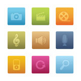 03 Square Multimedia Icons Stock Photos