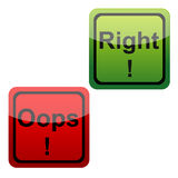 03A5. Illustration of set of oops and right icons n isolated background Royalty Free Stock Images