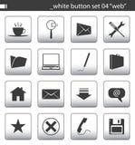 04个按钮集合白色 免版税库存照片