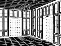 04古色古香的书橱空间向量 库存图片