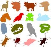 04 животных силуэта Стоковое Изображение