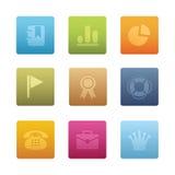 04 icone quadrate dell'ufficio Immagine Stock Libera da Diritti
