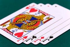 04 kortkort fyra stålar två Royaltyfri Foto