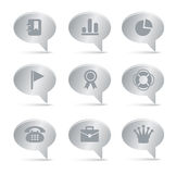 04 Silver Bubbles Office Icons Stock Photo