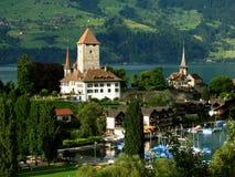 05座城堡spiez瑞士 库存照片