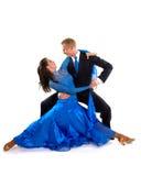 05 танцоров сини бального зала Стоковые Фото