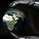 05 händer för androidjordjordklot håller safen Royaltyfri Bild