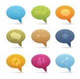 05 icone sociali di media della bolla Immagini Stock Libere da Diritti