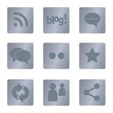 05 icone sociali quadrate d'acciaio di media Immagine Stock