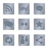 05 Steel Square Social Media Icons Stock Image