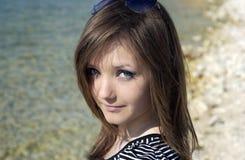05 zamkniętej twarzy damy plenerowych up Fotografia Stock