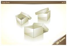 06个3d空白配件箱倒空被设置的图标 免版税库存图片