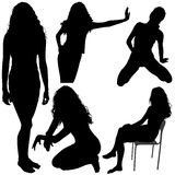 06 σκιαγραφίες κοριτσιών Στοκ εικόνες με δικαίωμα ελεύθερης χρήσης