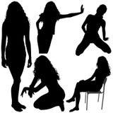 06 силуэтов девушок Стоковые Изображения RF