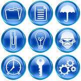 06 błękit ikony set Zdjęcie Stock