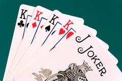 07个看板卡四位说笑话者国王 免版税库存图片
