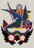 07只知更鸟纹身花刺 皇族释放例证