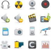 08 icone di multimedia Fotografia Stock