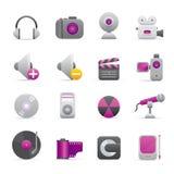 08 iconos púrpuras de los multimedia Fotos de archivo