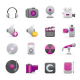 08 Purple Multimedia Icons. A group of coloured multimedia icons set Stock Illustration
