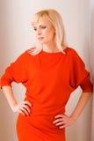 087件礼服红色妇女 免版税库存照片