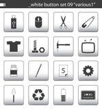 09个按钮集合白色 免版税库存图片