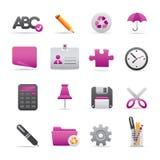 09 icone viola dell'ufficio Fotografia Stock
